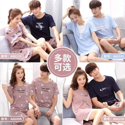 Korean sweet couple summer cotton short sleeved pajamas cute girls Nightgown summer suit male Home Furnishing