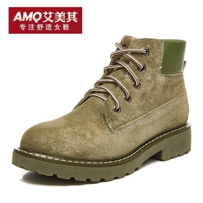 Amy, her leather shoes, Martin boots, women's boots, English wind, autumn and winter boots, 2017 new flat bottomed women boots, tide boots women