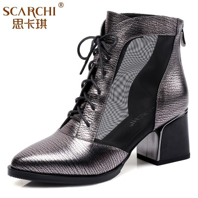 Scarlett boots, women's leather, spring and autumn boots, thick pointed Martin boots, 2017 spring new big size shoes