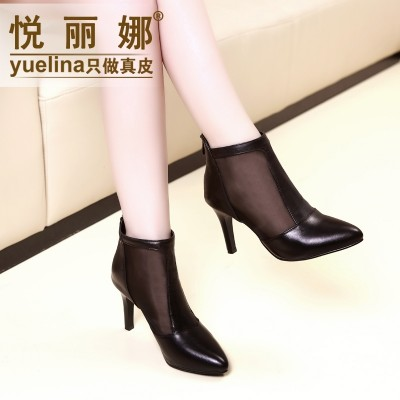 2017 spring summer new high-heeled shoes with pointed shoes with thin and short boots leather boots and short tube.