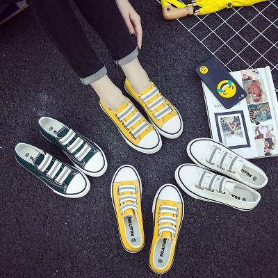 2017 new summer pedal shoes slip-on flat canvas shoes shoes shoes all-match Korean female students