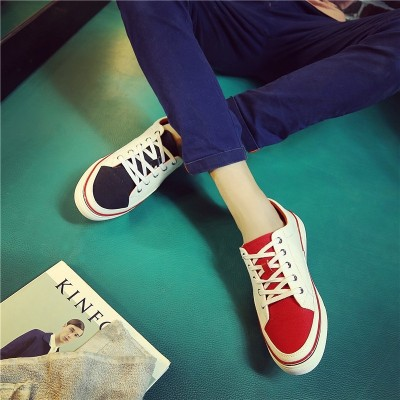 2017 spring trend two color canvas shoes, Korean lace, low shoes for men, men's breathable flat top casual shoes