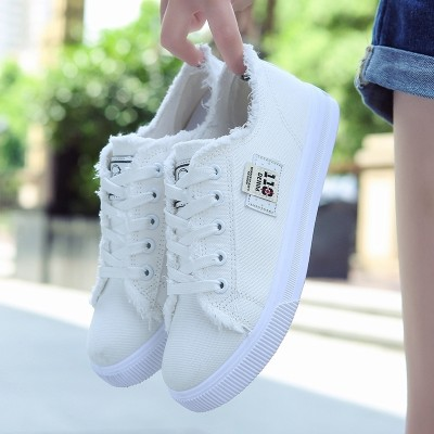 Sports shoes with flat bottomed female summer nap casual denim white lace up shoes with Korean Students