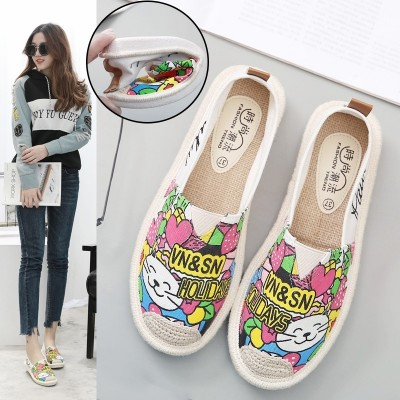 The 2017 summer all-match canvas shoes female student Korean pedal loafer shoes flat shoes casual shoes