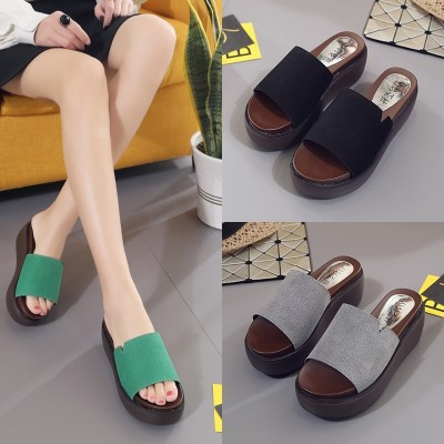 The Korean version of thick bottom slope with female summer wear slippers are frosted leather sandals a muffin bottom increased slippers
