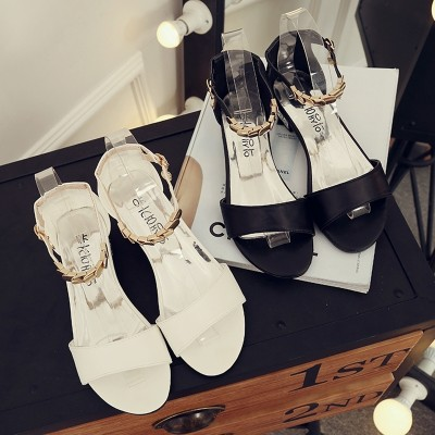 2017 summer new Korean minimalist toe sandals female buckle shoes Zichao word all-match students