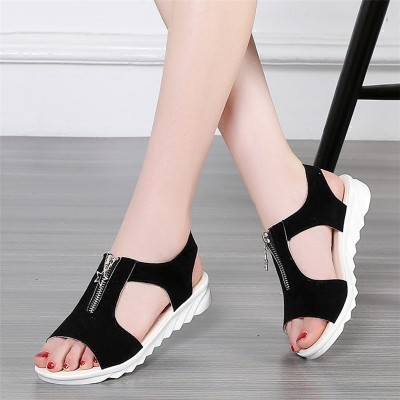 2017 new summer shoes with flat sandals students Rome Korea slip toe simple Korean all-match
