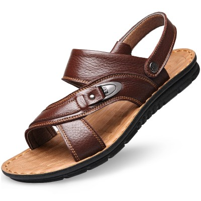 Men's sandals male leather shoes beach 2017 new summer fashion leather sandals slippers in elderly men's father