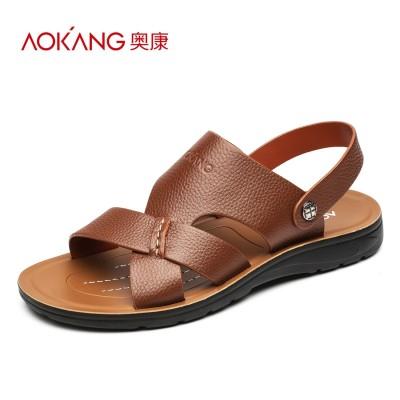 AOKANG men's summer sandals, men's leather shoes, beach sandals, men's slippers, men's shoes, plain toes, men's sandals, non slip