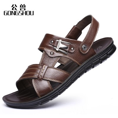2017 new summer men's sandals, leather beach shoes, men's casual leather shoes, slippers, big yards