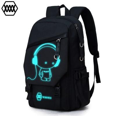 Double shoulder bag man fashion trend backpack, large capacity travel bag, leisure computer bag, middle school bag, male bag printing