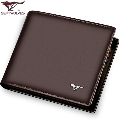 SEPTWOLVES Leather Wallet Mens short leather wallet wallet youth business cross section of Japan and South Korea