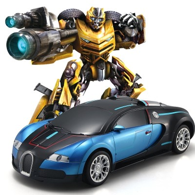 The transformer car is powered by a robot toy car that transforms a car from a car