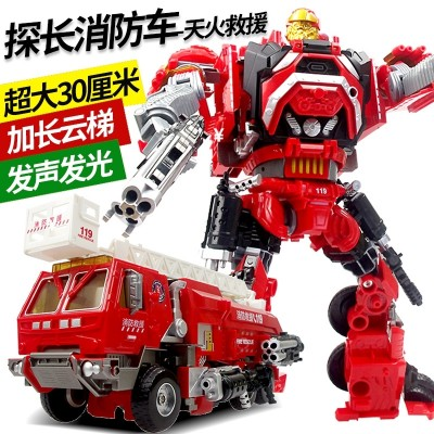 Jinjiang deformed toy king kong big red inspector fire car robot voice light model skyfire rescue