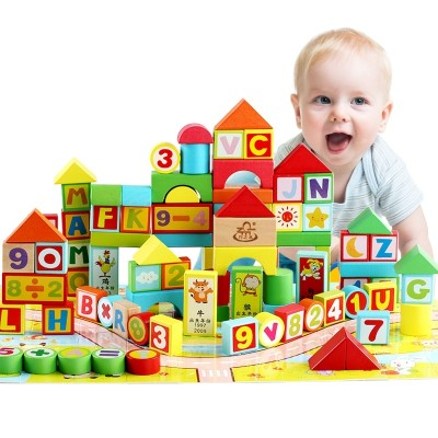 Handy wooden children's wooden block toys 1-2, 3-6 year old kindergarten boys and girls are learning how to read