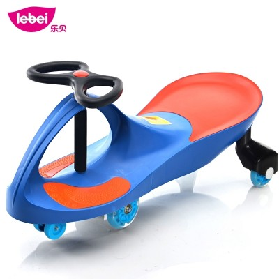 The baby yo-yo toddler glides the silent wheels of a rolling toy car