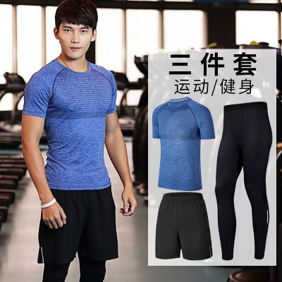 Fitness suits, men's summer tights, short sleeved gym, running fast drying clothes, sports suits, two or three sets of sports clothing