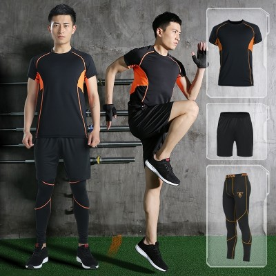 Loie Vatican fitness wear three or four piece spring male fitness tights short sleeved suit dry running speed at night or in the morning