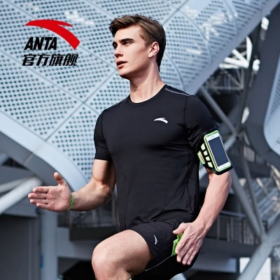 Anta short sleeved t-shirt men's 2017 summer style, close fitting, quick drying, short T men, exercise breathable clothing, sports jacket