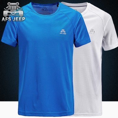 AFS JEEP speed dry T-shirt, men's short sleeve neck, summer fat XL, loose running clothes, fast drying clothes