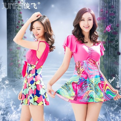 New female Siamese swimsuit swimming dress type thin cover belly size conservative boxer gather small chest hot swimwear