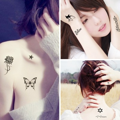 Tattoo stickers, waterproof men and women, lasting simulation, sexy, cute, small, fresh, invisible, tattoo stickers