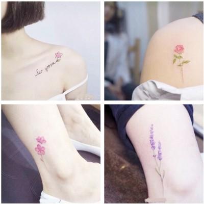 Bi yang original flower tattoo affixed to women, permanent simulation clavicle, ankle waterproof, Korea small fresh tattoo stickers