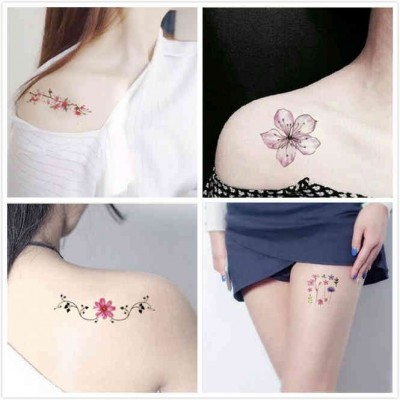Tattoo stickers, waterproof men and women, lasting simulation, South Korea small fresh flowers, lovely ankle, clavicle stickers 30
