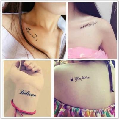 Tattoo stickers, men and women waterproof, durable tattoo letters, ECG, tattoo stickers