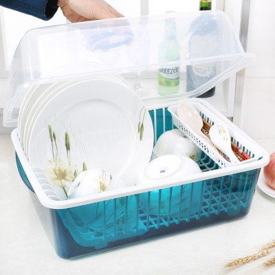 The kitchen cupboard plastic draining rack with cover tableware tableware box put water bowl dish rack rack