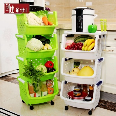 Plastic basket kitchen shelf shelf storage floor put vegetable storage basket basket 3 4 layer multilayer dish rack