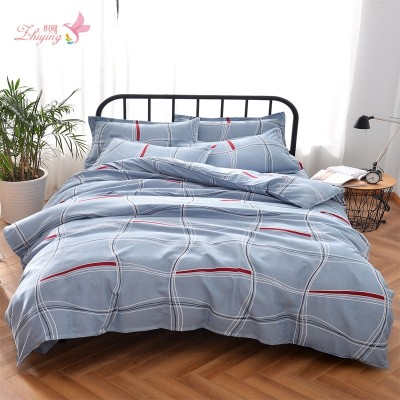 Woven twill warbler four piece simple cartoon thick sanding bedding 4 Piece Bedding printing activity