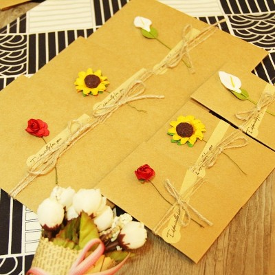DIY retro handmade greeting cards, kraft paper, dried flowers cards, birthday cards, Valentine's Day cards