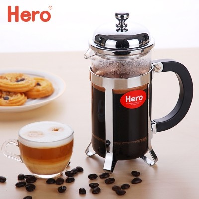 The hero method pressure pot stainless steel coffee pot home French tea maker coffee filter press glass filter cup
