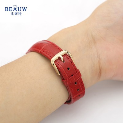 Ladies leather strap, cowhide red, pink, 14 16mm waterproof watch accessories fashionable