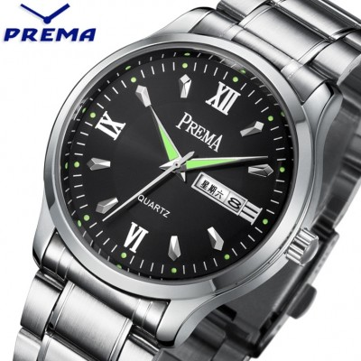 Noctilucent week calendar watch waterproof brand Korean male and female students with male skin with quartz men's watch