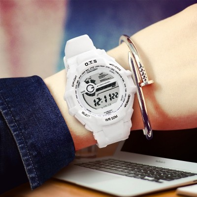 Ots junior high school students watch swimming female white waterproof neutral table outdoors children electronic watch boy