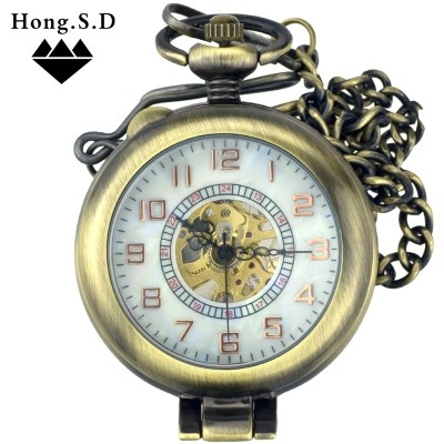 Magnifying glass larger clamshell transparent hollow out mechanical pocket watch Men and women the old table vintage bronze clearly supe