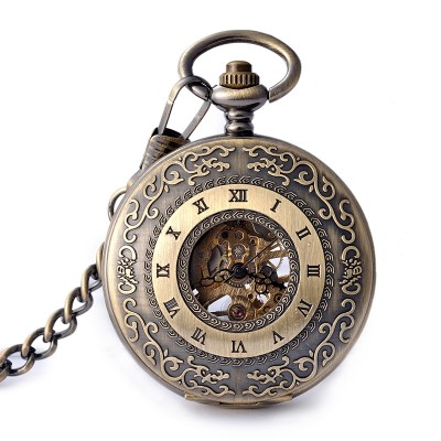 Christmas carving decorative pattern Retro fashion table male ladies watch students pocket watch Business trend