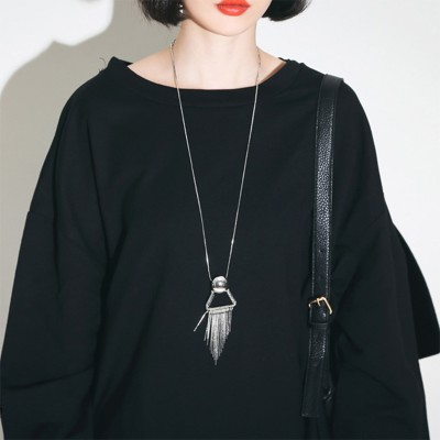 Sue heart exaggerated punk wind metal fashion long necklace, Japan and South Korea version of the new sweater chain restoring ancient ways female personality