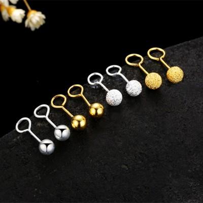 925 tremella hook nail doug joker grind arenaceous gold earrings ear bone nail earring female fashion round pearl gifts