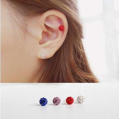 South Korea 925 sterling silver earrings in Europe and the crystal earrings silver contracted students female temperament allergy eardrop, Japan and South Korea