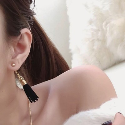 After South Korea fashion new winter retro chain hanging suede tassel earrings earrings accessories