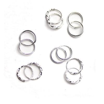 990 sterling silver earrings Female temperament of huai, Japan and South Korea ear small ear clip ear bone hoop earrings allergy free earrings