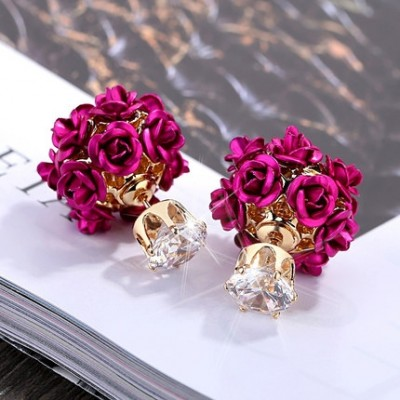 Red earrings fashion female temperament with earrings earrings contracted products, South Korea eardrop lovely double gifts
