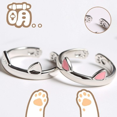 S925 silver handmade original pussy cat ring female temperament of Japan and South Korea lovely cat ear rings tide people end up students