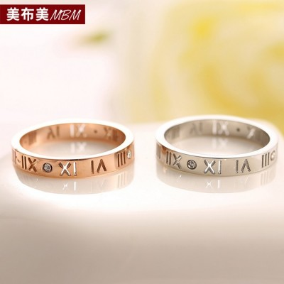 Han edition single drill 18 k rose gold plated Rome couples ring men's and women's buddhist monastic discipline the tail ring ring ring finger joints