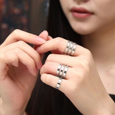 Only cool personality titanium steel mouth feed rose gold ring joint ring tide female, Japan and others students act the role ofing is tasted the tail