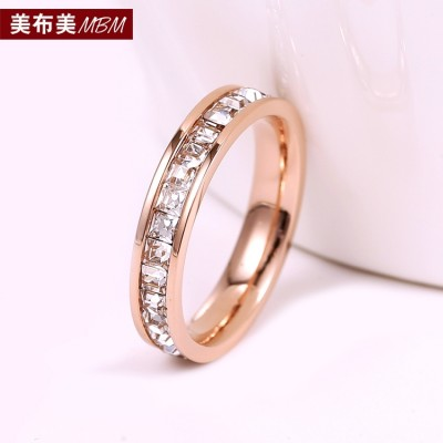 Han edition 18 k rose gold plated with diamond ring female ring tail ring Han Guocai golden wedding ring finger jewelry gifts