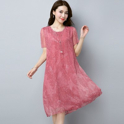 Silk chiffon dress fashion slim skirt Korean Short Sleeved T-shirt printing 2018 new summer dress